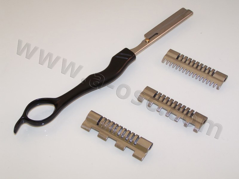 Barber Razor w/ 3 combs & Handle With Feather Cut Blade