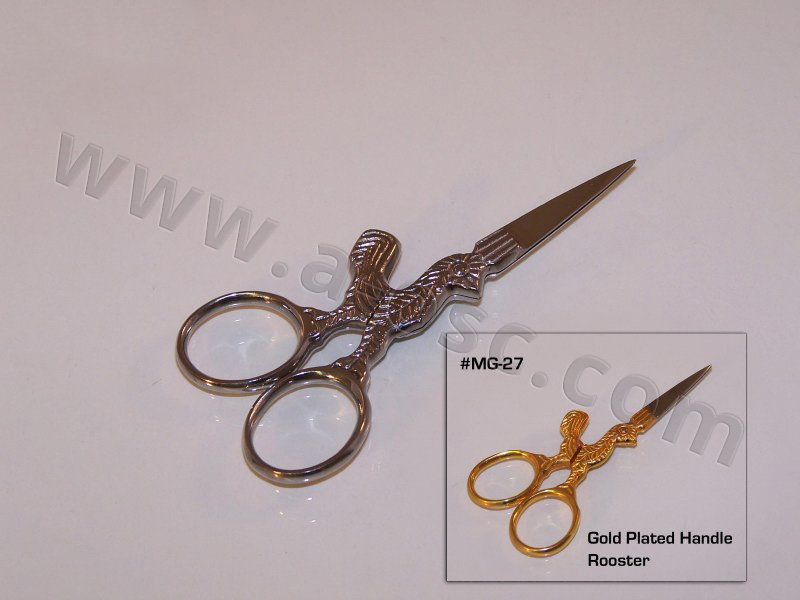 Rooster Scissor gold and silver